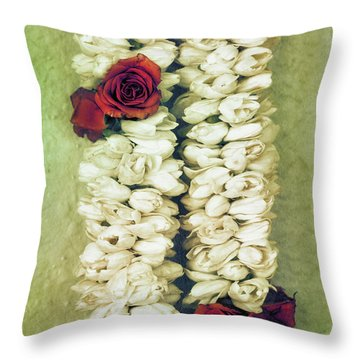 Pikake Lei Throw Pillow