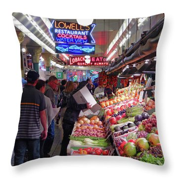 Throw Pillow featuring the photograph Pike Market Fruit Stand by Walter Fahmy