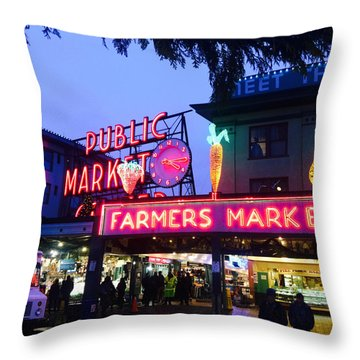 Pike Place Market Throw Pillow by Anthony Grayson