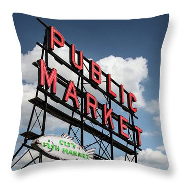 Throw Pillow featuring the photograph Pike Place Market by Ed Clark