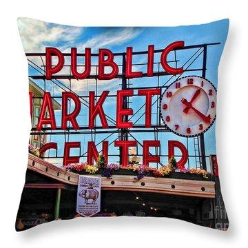 Pike Place Market Throw Pillow by Joan  Minchak