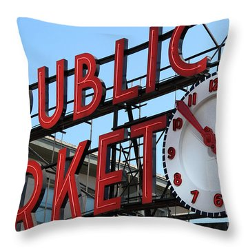 Throw Pillow featuring the photograph Pike Street Market Clock by Peter Simmons