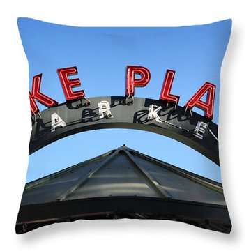 Throw Pillow featuring the photograph Pike Street Market Sign by Peter Simmons