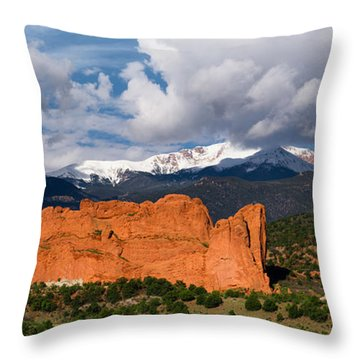 Pikes Peak And Garden Of The Gods Panoramic Throw Pillow