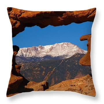 Pike's Peak Frame Throw Pillow by Jon Holiday