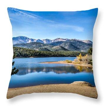 Pikes Peak Over Crystal Lake Throw Pillow