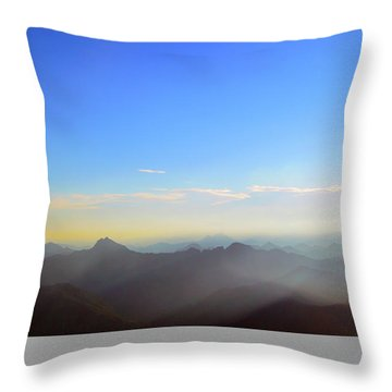 Pilchuck And Three Sisters Sunrise Throw Pillow