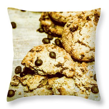 Pile Of Crumbled Chocolate Chip Cookies On Table Throw Pillow