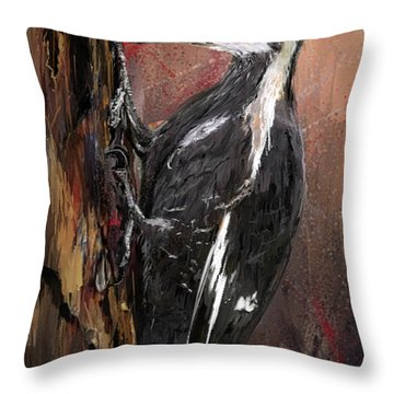 Pileated Woodpecker Art Throw Pillow