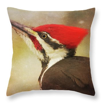 Throw Pillow featuring the photograph Pileated Woodpecker With Snowfall by Heidi Hermes