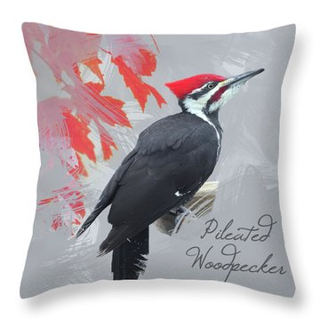 Pileated Woodpecker Watercolor Photo Throw Pillow by Heidi Hermes