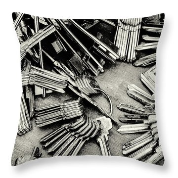 Piles Of Blank Keys In Monochrome Throw Pillow