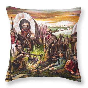American    History  Pilgrims On The Plain Throw Pillow