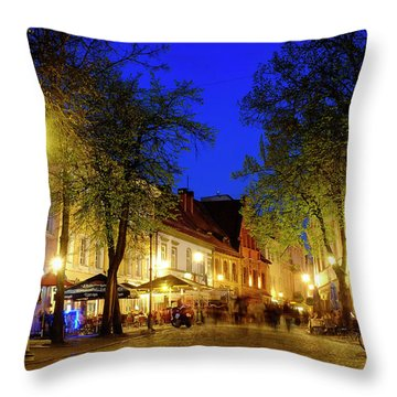 Throw Pillow featuring the photograph Pilies Street by Fabrizio Troiani