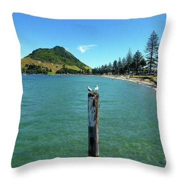 Pilot Bay Beach 1 - Mt Maunganui Tauranga New Zealand Throw Pillow