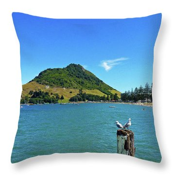 Pilot Bay Beach 2 - Mount Maunganui Tauranga New Zealand Throw Pillow