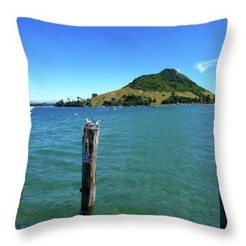 Pilot Bay Beach 3 - Mt Maunganui Tauranga New Zealand Throw Pillow