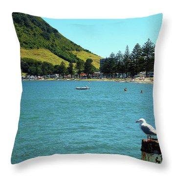 Pilot Bay Beach 5 - Mt Maunganui Tauranga New Zealand Throw Pillow