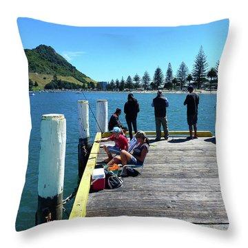 Pilot Bay Beach 7 - Mt Maunganui Tauranga New Zealand Throw Pillow