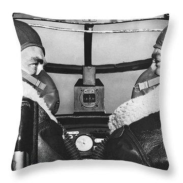 Pilots In B-25 Cockpit Throw Pillow