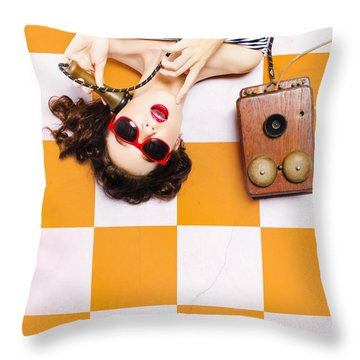 Throw Pillow featuring the photograph Pin-up Beauty Decision Making On Old Phone by Jorgo Photography - Wall Art Gallery