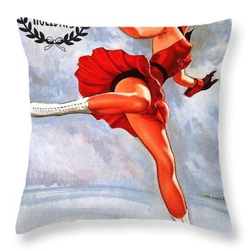 Pin Up Ice Skating Blond Woman Throw Pillow