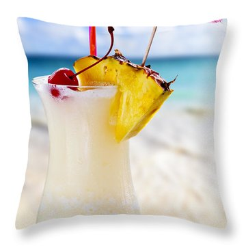 Pina Colada Cocktail On The Beach Throw Pillow