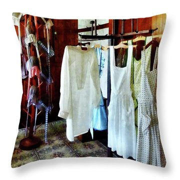 Pinafores And Bonnets In General Store Throw Pillow by Susan Savad
