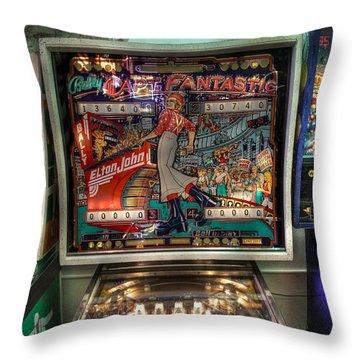 Pinball Elton John Bally Throw Pillow by Jane Linders