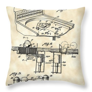 Pinball Machine Patent 1939 - Vintage Throw Pillow