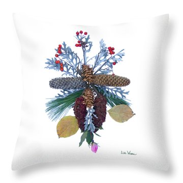Throw Pillow featuring the digital art Pine Cone Bouquet by Lise Winne