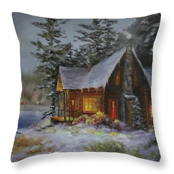 Pine Cove Cabin Throw Pillow