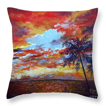 Throw Pillow featuring the painting Pine Island Sunset by Lou Ann Bagnall