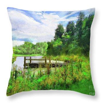 Pine Lake Pier Throw Pillow