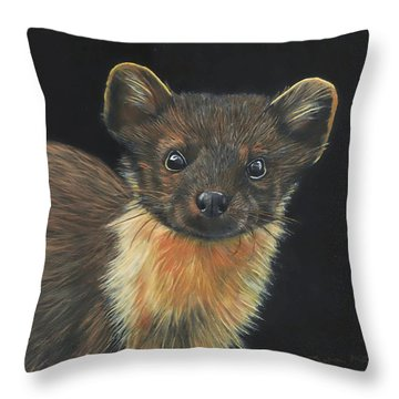 Throw Pillow featuring the painting Pine Marten by John Neeve