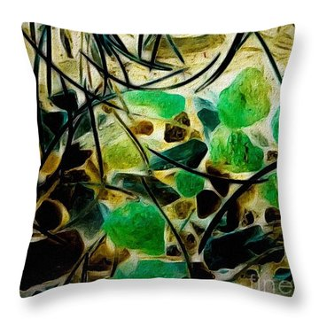 Pine Needles On Stone Throw Pillow by William Wyckoff