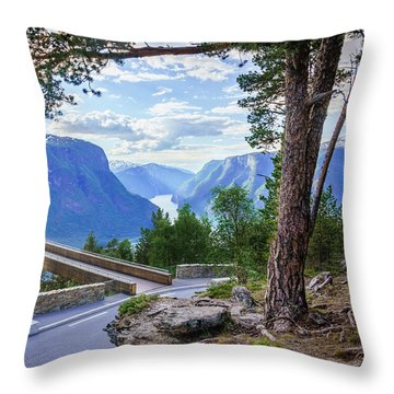 Throw Pillow featuring the photograph Pine On Stegastein by Dmytro Korol