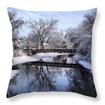 Pine River Foot Bridge From Superior In Winter Throw Pillow
