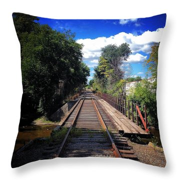 Pine River Railroad Bridge Throw Pillow
