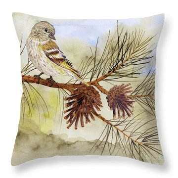 Throw Pillow featuring the painting Pine Siskin Among The Pinecones by Thom Glace