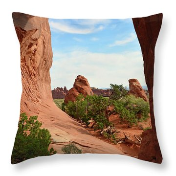 Throw Pillow featuring the photograph Pine Tree Arch In Utah 02 by Bruce Gourley