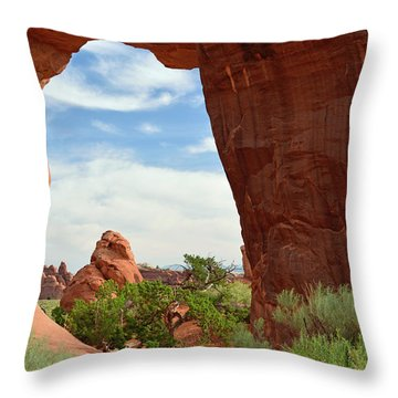 Throw Pillow featuring the photograph Pine Tree Arch In Utah by Bruce Gourley