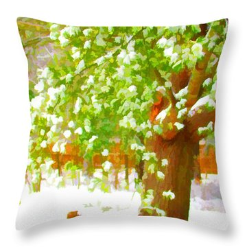 Pine Tree Covered With Snow 1 Throw Pillow by Lanjee Chee