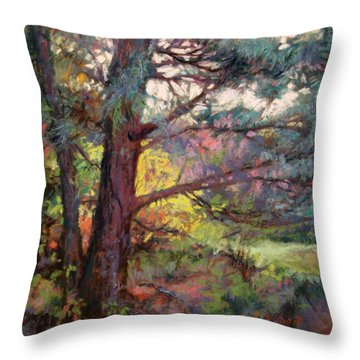 Pine Tree Dance Throw Pillow by Donna Shortt
