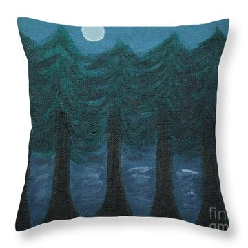 Pine Tree Lake Throw Pillow