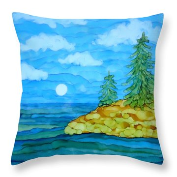 Pine Tree Moon And Water Painting Throw Pillow