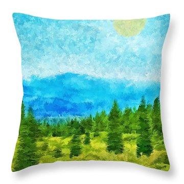 Pine Tree Mountain Blue - Shasta California Throw Pillow by Joel Bruce Wallach