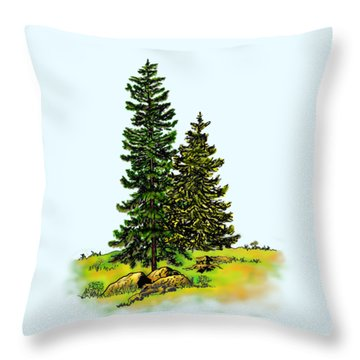 Pine Tree Nature Watercolor Ink Image 2b        Throw Pillow
