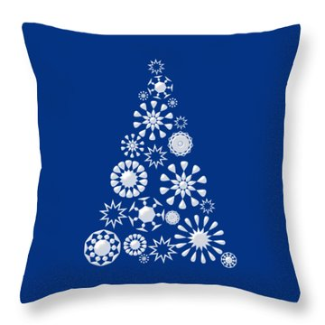 Pine Tree Snowflakes - Dark Blue Throw Pillow