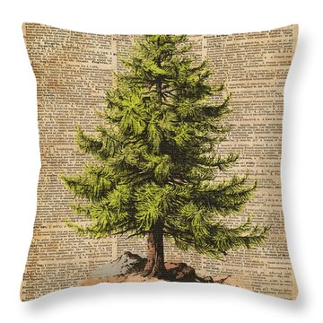 Pine Tree,cedar Tree,forest,nature Dictionary Art,christmas Tree Throw Pillow